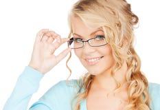 Mujer con las lentes Imágenes de archivo libres de regalías