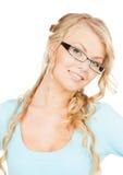 Mujer con las lentes Fotografía de archivo
