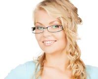 Mujer con las lentes Fotos de archivo libres de regalías