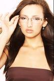 Mujer con las lentes Imagen de archivo