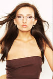 Mujer con las lentes Imagen de archivo libre de regalías