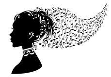 Mujer con las notas de la música, vector Imagenes de archivo