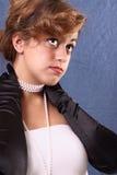 Mujer con las perlas Foto de archivo
