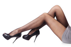 Mujer con las piernas altas Imágenes de archivo libres de regalías