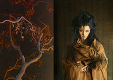 Mujer con las plumas marrones de la explotación agrícola del traje Imagen de archivo libre de regalías