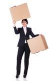 Mujer con las porciones de cajas Imagen de archivo