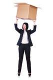 Mujer con las porciones de cajas Imagen de archivo libre de regalías