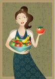 Mujer con los alimentos de la dieta sana mediterránea Foto de archivo