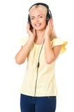 Mujer con los auriculares Fotos de archivo