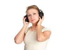 Mujer con los auriculares Foto de archivo