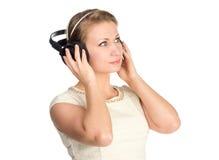 Mujer con los auriculares Imagen de archivo