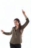 Mujer con los auriculares que escucha y enjoing música Muchacha con el baile de los auriculares Imagenes de archivo