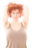 Mujer con los axilas melenudos Fotos de archivo