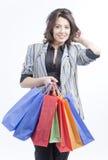 Mujer con los bolsos Fotos de archivo libres de regalías