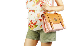 Mujer con los bolsos de lujo. Imágenes de archivo libres de regalías