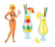 Mujer con los cócteles, el ir de fiesta de la persona de la limonada ilustración del vector