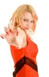 Mujer con los clavos grandes (foco en la mano) imagen de archivo libre de regalías