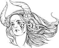 Mujer con los cuernos del monstruo Rebecca 36 Foto de archivo
