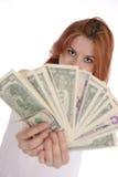Mujer con los dólares Fotografía de archivo libre de regalías