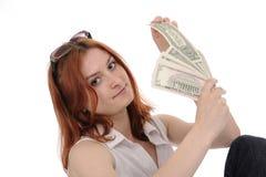 Mujer con los dólares Foto de archivo libre de regalías