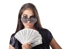 Mujer con los dólares Imagen de archivo