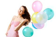 Mujer con los globos Fotos de archivo