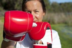 Mujer con los guantes de boxeo Imágenes de archivo libres de regalías