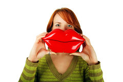 Mujer con los labios grandes Fotografía de archivo