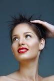 Mujer con los labios rojos fotografía de archivo