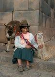 Mujer con los lamas Fotografía de archivo libre de regalías