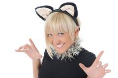 Mujer con los oídos de gato Fotografía de archivo