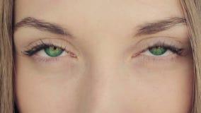 Mujer con los ojos de color verde oscuro almacen de metraje de vídeo