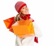 Mujer con los panieres Imagen de archivo libre de regalías