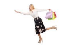 Mujer con los panieres aislados Imágenes de archivo libres de regalías