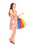 Mujer con los panieres que habla en el teléfono Fotografía de archivo libre de regalías