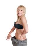 mujer con los pantalones de gran tamaño Fotos de archivo libres de regalías