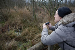Mujer con los prismáticos birdwatching Fotos de archivo libres de regalías