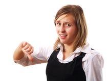 Mujer con los pulgares abajo Fotos de archivo libres de regalías