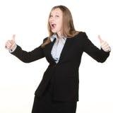 Mujer con los pulgares para arriba Imagen de archivo