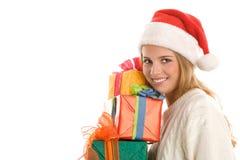 Mujer con los regalos Foto de archivo libre de regalías