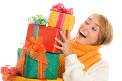 Mujer con los regalos Foto de archivo