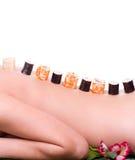Mujer con los rodillos de sushi japoneses Imágenes de archivo libres de regalías