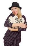 Mujer con los sacos del dinero aislados Imagen de archivo