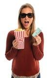 Mujer con los vidrios 3D Fotografía de archivo libre de regalías