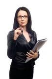 Mujer con los vidrios y el pelo oscuro largo Imagenes de archivo