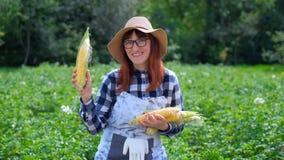 Mujer con maíz en una cesta, en una granja o en un huerto El concepto de cosechar o de vender verduras almacen de video