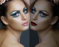 Mujer con maquillaje de la turquesa. foto de archivo libre de regalías