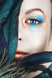 Mujer con maquillaje del azul y del bronce Imagen de archivo libre de regalías