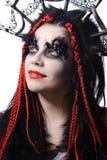 Mujer con maquillaje del shaman del vudú Fotografía de archivo