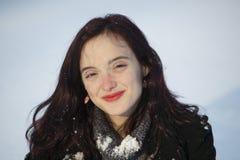 Mujer con nieve Foto de archivo libre de regalías
